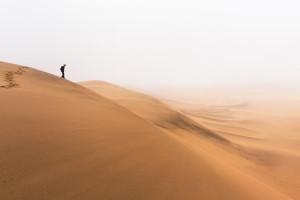 Dune dans la brume en Namibie