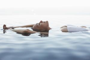Young woman enjoying water