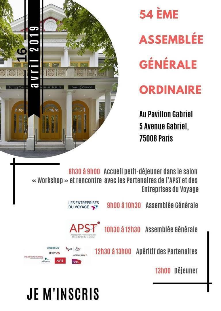 Invitation à la 54e Assemblée Générale de l'APST le 16 avril 2019