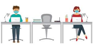 dessin distanciation sociale au bureau